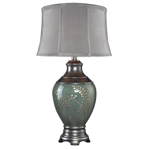Elk Lighting Table Lamp with Grey Shade in Pinery Green Finish D2056