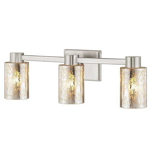 3 Light Mercury Glass Bathroom Light Satin Nickel 2103 09 Gl1039c Destination Lighting