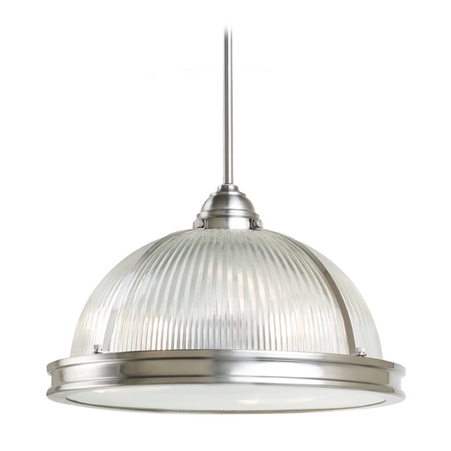 Sea Gull Lighting Pendant Light with Clear Glass in Brushed Nickel Finish 65062-962