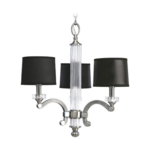 Progress Lighting Progress Crystal Chandelier with Black Shades in Classic Silver Finish P4500-101