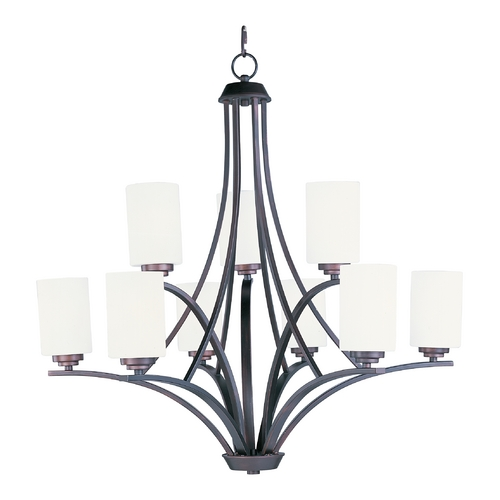 Maxim Lighting Modern Chandelier with White Glass in Oil Rubbed Bronze Finish 20036SWOI