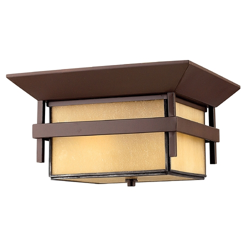 Hinkley Lighting Close To Ceiling Light with Amber Glass in Anchor Bronze Finish 2573AR-GU24