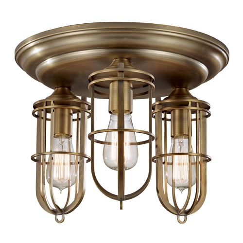Home Solutions by Feiss Lighting Flushmount Light in Dark Antique Brass Finish FM378DAB