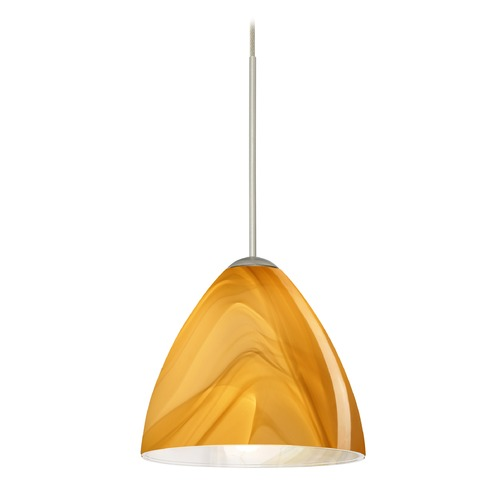 Besa Lighting Besa Lighting Mia Satin Nickel LED Mini-Pendant Light with Bell Shade 1XT-1779HN-LED-SN