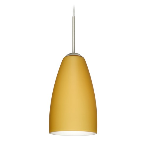 Besa Lighting Besa Lighting Riva Satin Nickel LED Mini-Pendant Light with Oblong Shade 1JT-1511VM-LED-SN
