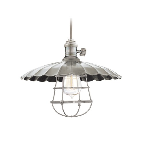 Hudson Valley Lighting Hudson Valley Lighting Heirloom Historic Nickel Pendant Light with Scalloped Shade 8002-HN-MM3-WG