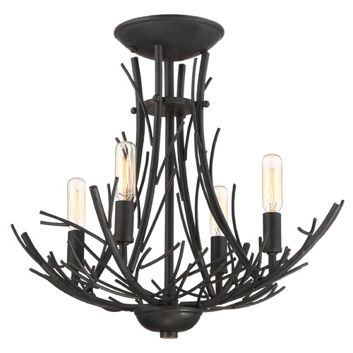 Quoizel Lighting Quoizel Lighting Thornhill Marcado Black Semi-Flushmount Light THL1718MK
