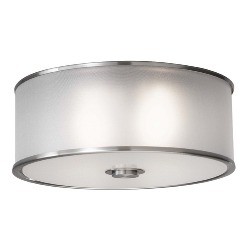 Feiss Lighting Flushmount Light with Silver Shade in Brushed Steel Finish FM291BS