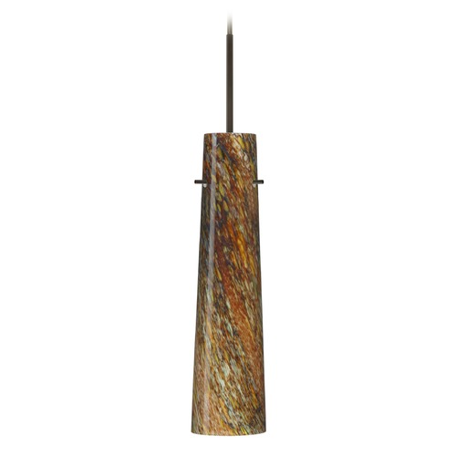 Besa Lighting Besa Lighting Camino Bronze Mini-Pendant Light with Cylindrical Shade 1BT-5674CE-BR