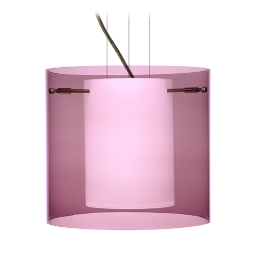 Besa Lighting Modern Pendant Light with Purple Glass in Bronze Finish 1KG-A18407-BR