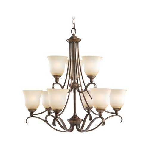 Sea Gull Lighting Chandelier with Beige / Cream Glass in Russet Bronze Finish 31381-829