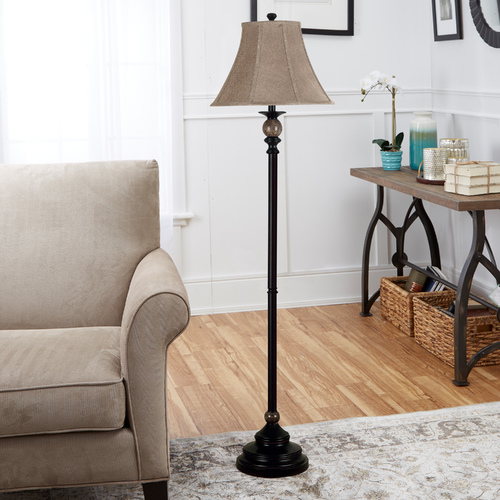 Kenroy Home Lighting Floor Lamp with Gold Shade in Oil Rubbed Bronze Finish 20631ORB