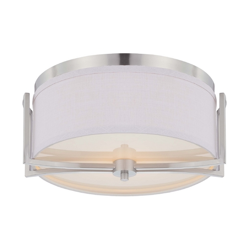 Nuvo Lighting Modern Flushmount Light with Grey Shade in Brushed Nickel Finish 60/4761