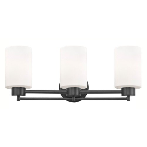 Design Classics Lighting Modern Bathroom Light White Glass Black 3 Lt 703-07 GL1024C