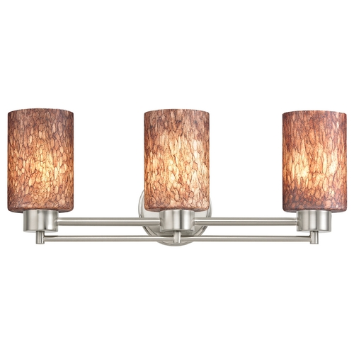 Design Classics Lighting Modern Bathroom Light with Brown Art Glass in Satin Nickel Finish 703-09 GL1016C