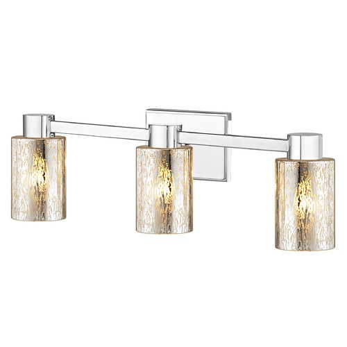 Design Classics Lighting 3-Light Mercury Glass Bathroom Light Chrome 2103-26 GL1039C