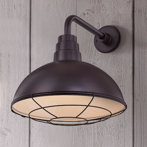 Recesso Lighting by Dolan Designs Bronze Gooseneck Barn Light with 16-Inch Caged Dome Shade BL-ARMD3-BZ/BL-SH16D/CG16S