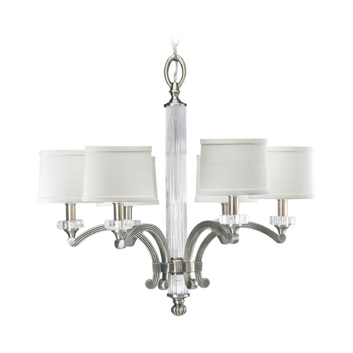 Progress Lighting Progress Crystal Chandelier with White Shades in Classic Silver Finish P4501-101