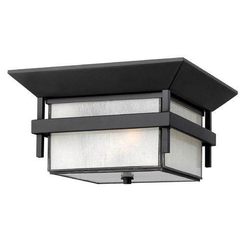Hinkley Lighting Close To Ceiling Light with White Glass in Satin Black Finish 2573SK-GU24