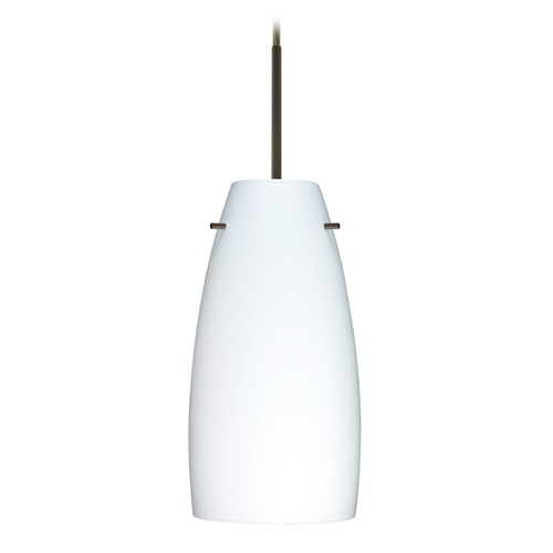 Besa Lighting Besa Lighting Tao Bronze LED Mini-Pendant Light with Oblong Shade 1JT-151207-LED-BR