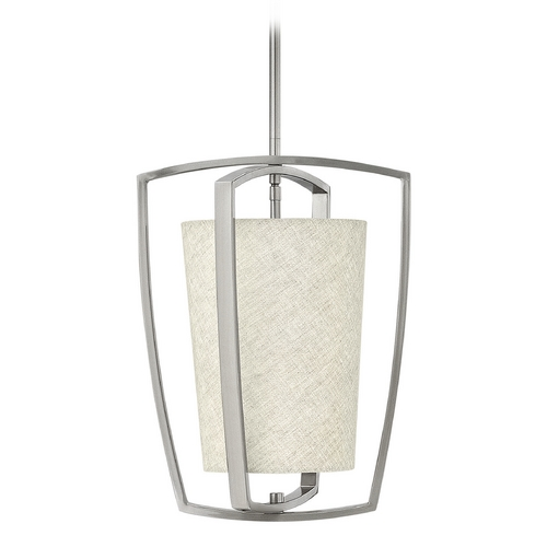 Hinkley Lighting Hinkley Lighting Blakely Brushed Nickel Pendant Light with Cylindrical Shade 3797BN