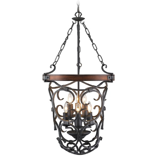 Golden Lighting Golden Lighting Madera Black Iron Pendant Light 1821-6P BI