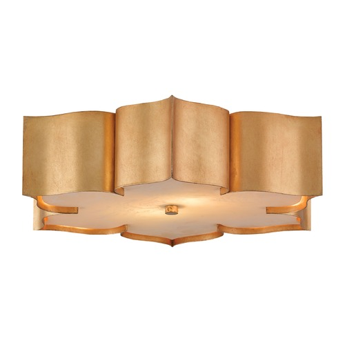 Currey and Company Lighting Currey and Company Grand Lotus Antiquegold Leaf Flushmount Light 9999-0010