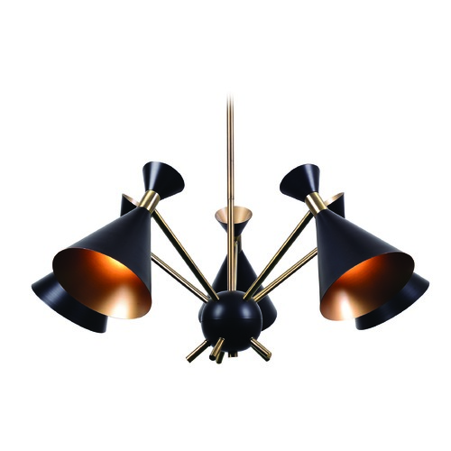 Kenroy Home Lighting Mid-Century Modern Chandelier Black Arne by Kenroy Home 93795BL
