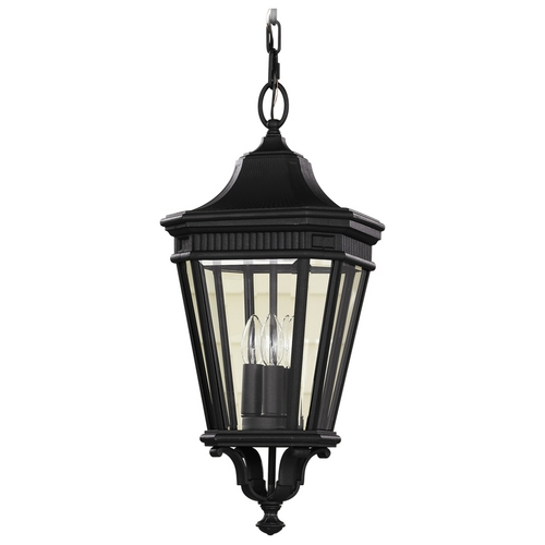 Home Solutions by Feiss Lighting Outdoor Hanging Light with Clear Glass in Black Finish OL5411BK