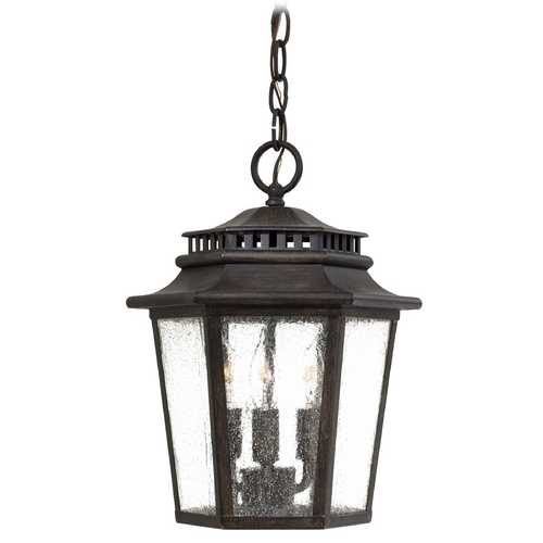 Minka Lavery Outdoor Hanging Light with Clear Glass in Iron Oxide Finish 8274-A357