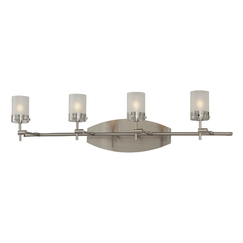 George Kovacs Lighting Modern Bathroom Light with White Glass in Brushed Nickel Finish P5014-084