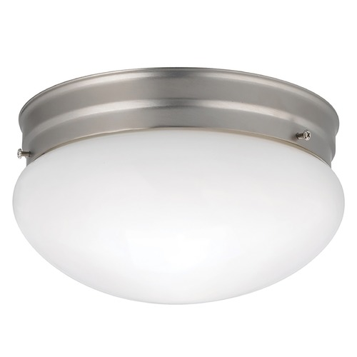 Kichler Lighting Kichler Modern Brushed Nickel Flushmount Light with White Glass 209NI