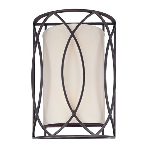 Troy Lighting Sconce Wall Light with White Shades in Deep Bronze Finish B1289DB
