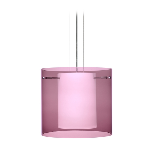 Besa Lighting Modern Pendant Light with Purple Glass in Satin Nickel Finish 1KG-A18407-SN