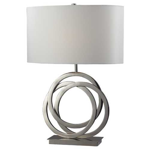 Elk Lighting Modern Table Lamp with White Shade in Polished Nickel Finish D2058