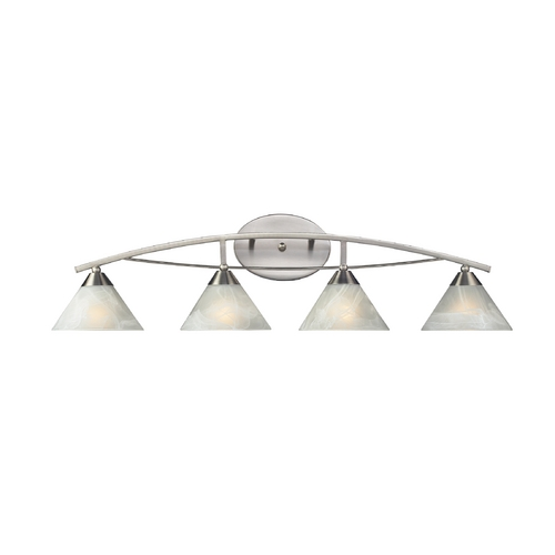 Elk Lighting Modern Bathroom Light with White Glass in Satin Nickel Finish 17019/4