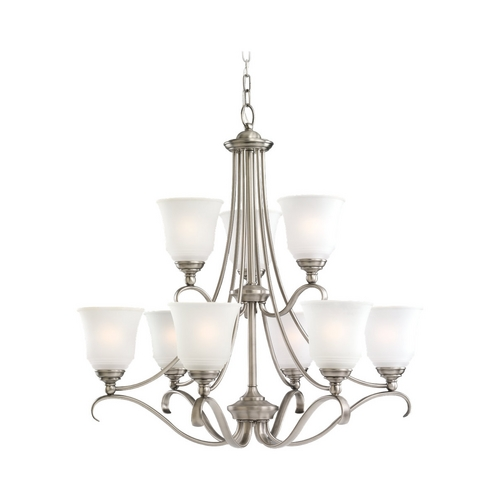 Sea Gull Lighting Chandelier with White Glass in Antique Brushed Nickel Finish 31381-965