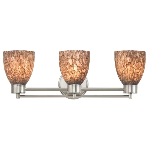 Design Classics Lighting Modern Bathroom Light with Brown Art Glass in Satin Nickel Finish 703-09 GL1016MB