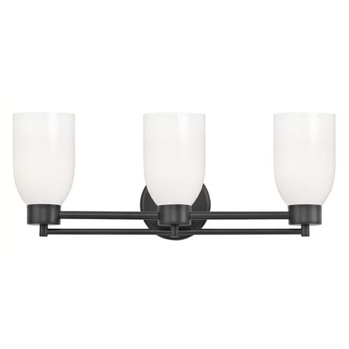 Design Classics Lighting Modern Bathroom Light White Glass Black 3 Lt 703-07 GL1024D