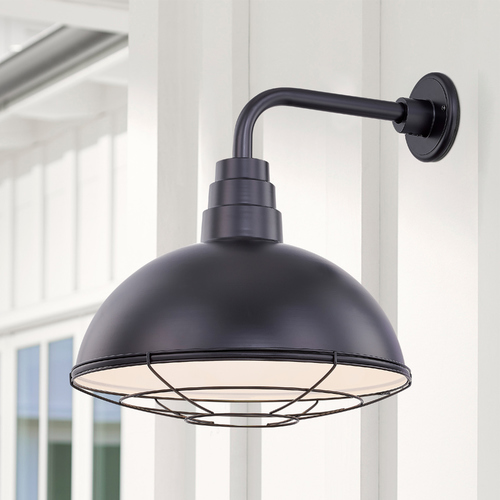 Recesso Lighting by Dolan Designs Black Gooseneck Barn Light with 18-Inch Caged Dome Shade BL-ARMD3-BLK/BL-SH18D/CG18S