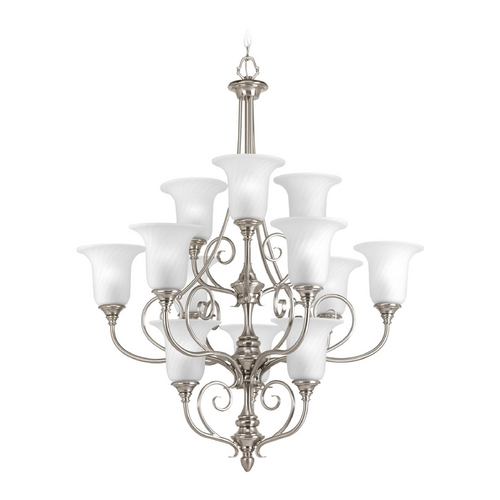 Progress Lighting Chandelier with White Glass in Brushed Nickel Finish P4314-09