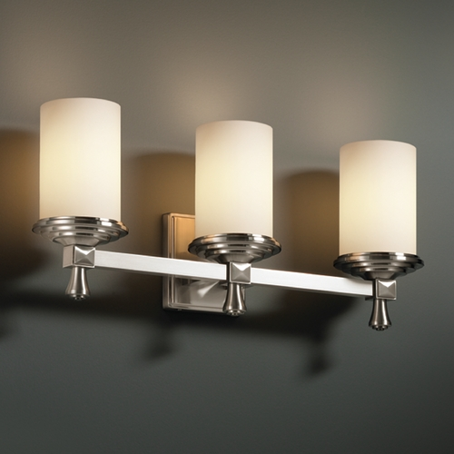 Justice Design Group Justice Design Group Fusion Collection Bathroom Light FSN-8533-10-OPAL-NCKL