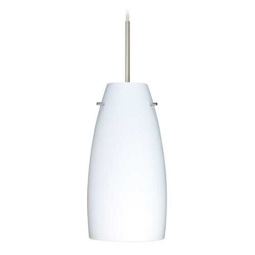 Besa Lighting Besa Lighting Tao Satin Nickel LED Mini-Pendant Light with Oblong Shade 1JT-151207-LED-SN