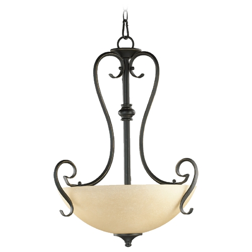 Quorum Lighting Quorum Lighting Powell Old World Pendant Light with Bowl / Dome Shade 8108-3-95