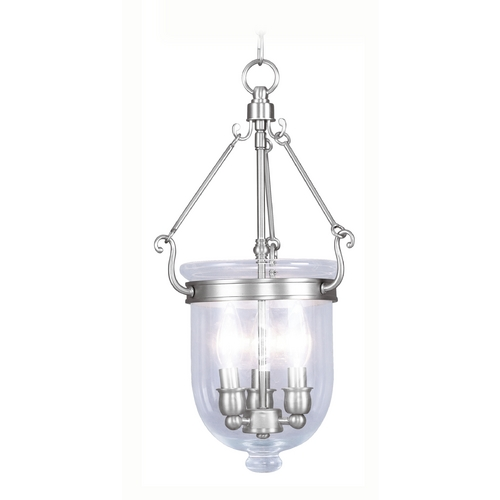 Livex Lighting Livex Lighting Jefferson Brushed Nickel Pendant Light with Bowl / Dome Shade 5063-91