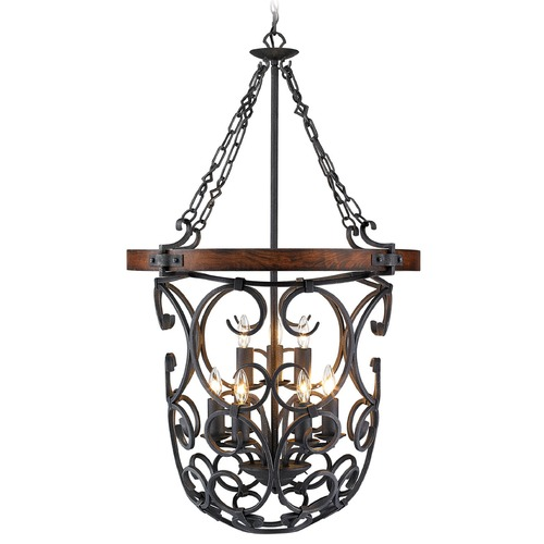 Golden Lighting Golden Lighting Madera Black Iron Pendant Light 1821-9P BI