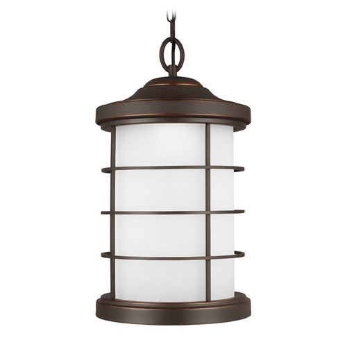 Sea Gull Lighting Etched Seeded Glass LED Outdoor Hanging Light Bronze Sea Gull Lighting 6224491S-71