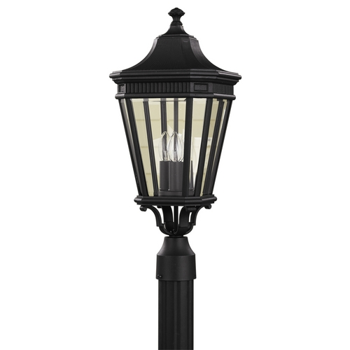 Feiss Lighting Post Light with Clear Glass in Black Finish OL5407BK