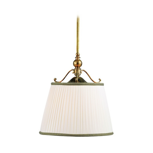 Hudson Valley Lighting Drum Pendant Light with White Shade in Aged Brass Finish 7711-AGB