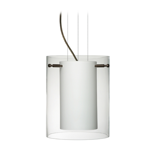 Besa Lighting Modern Pendant Light with White Glass in Bronze Finish 1KG-C00607-BR